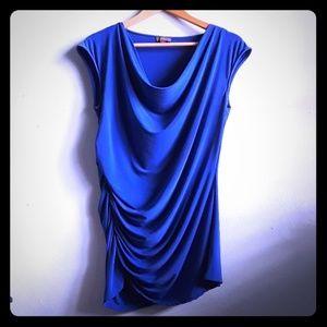 Cobalt stretch ruffled blouse